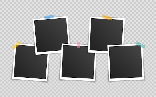Photo frame mockup design. super set photo frame on sticky tape isolated on transparent background. Premium Vector