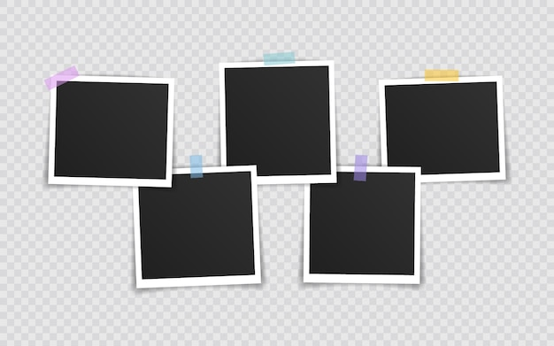 Photo frame  . super set photo frame on sticky tape isolated on transparent background. vector illustration. Premium Vector