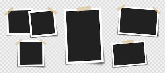 다른 색상과 종이 클립의 접착 테이프와 사진 프레임. 프리미엄 벡터