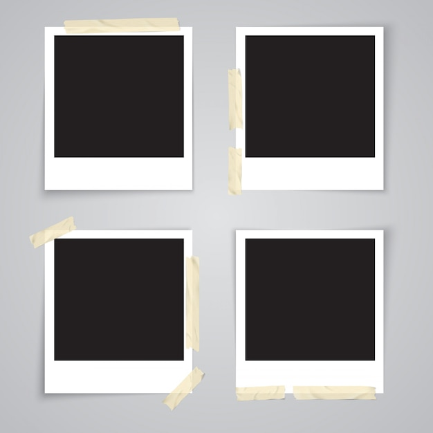 Photo frame with adhesive tape and shadow isolated realistic vector illustration Premium Vector