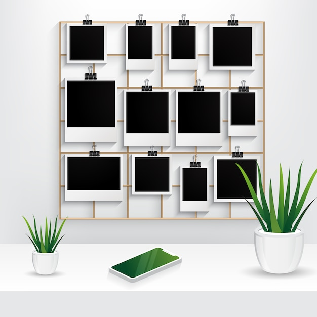 Photo frame with wall grid panel, interior plant and mobile phone scene isolated on white background Premium Vector
