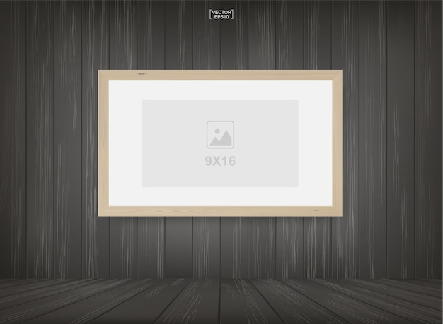 Photo frame in wooden room space background. Premium Vector