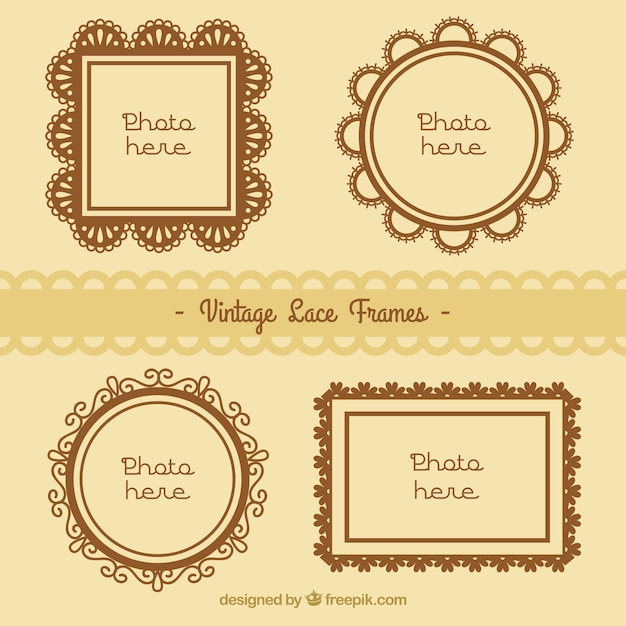 Photo frames collection of lace Free Vector