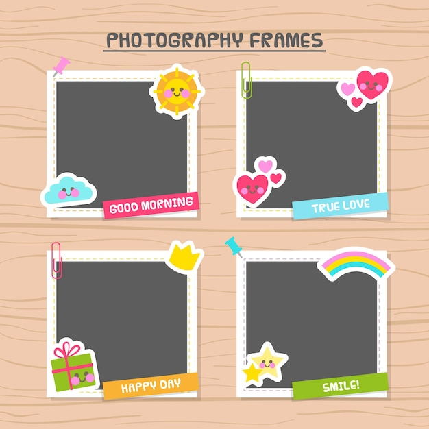 Photo frames decorated with beautiful elements Free Vector