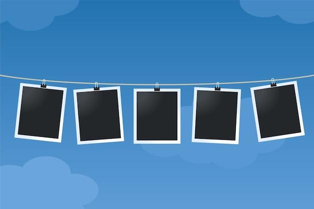 Cornici per foto appese a un cavo Vettore gratuito