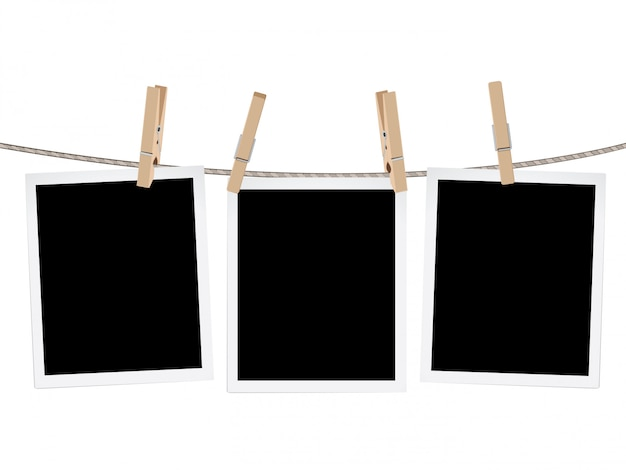 Photo frames on rope Premium Vector