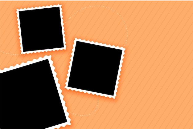Photo frames set on pastel color background Free Vector