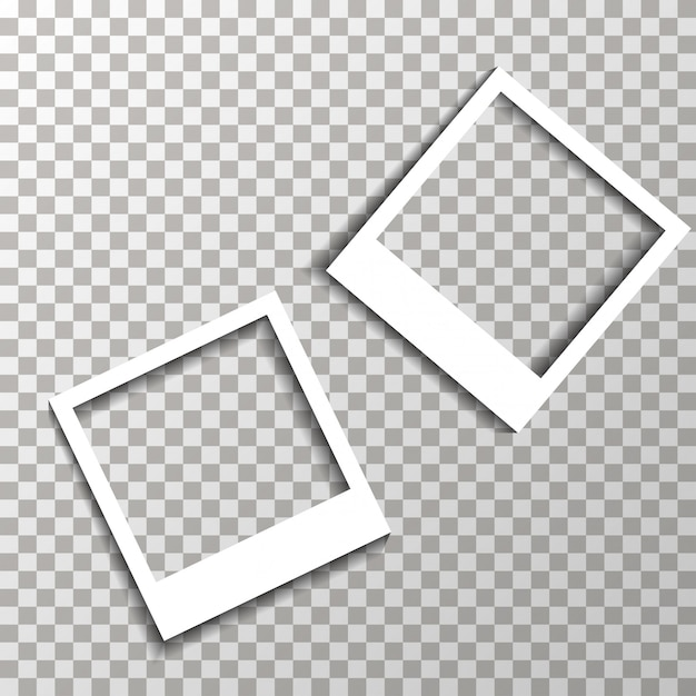 Photo frames on the transparent background vector. Premium Vector