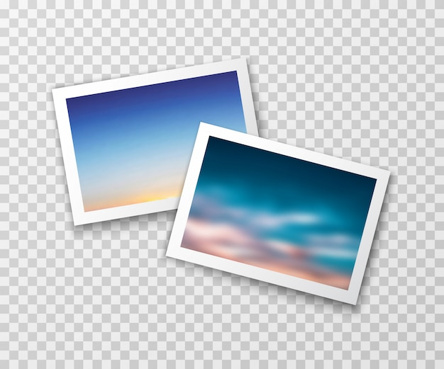 Photo frames with blurred landscapes. vector photography Premium Vector