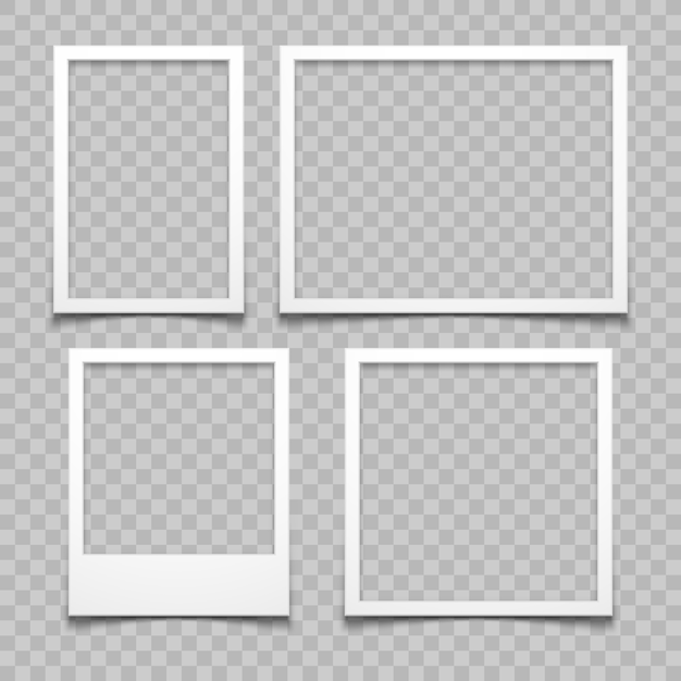 Photo frames with realistic drop shadow vector effect isolated. image borders with 3d shadows. Premium Vector