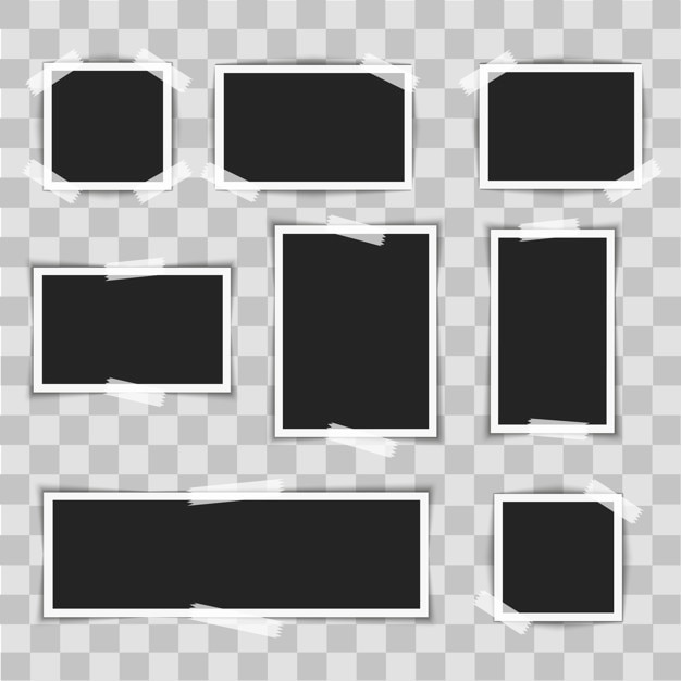 Photo frames with sticky on transparent background. Vector | Premium ...