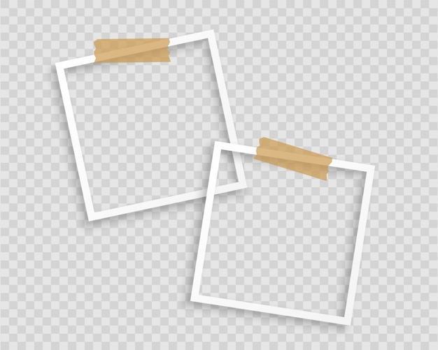 Photo frames with tape on transparent background Free Vector