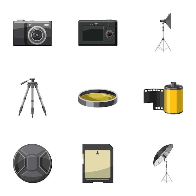 Photo icons set, cartoon style Premium Vector