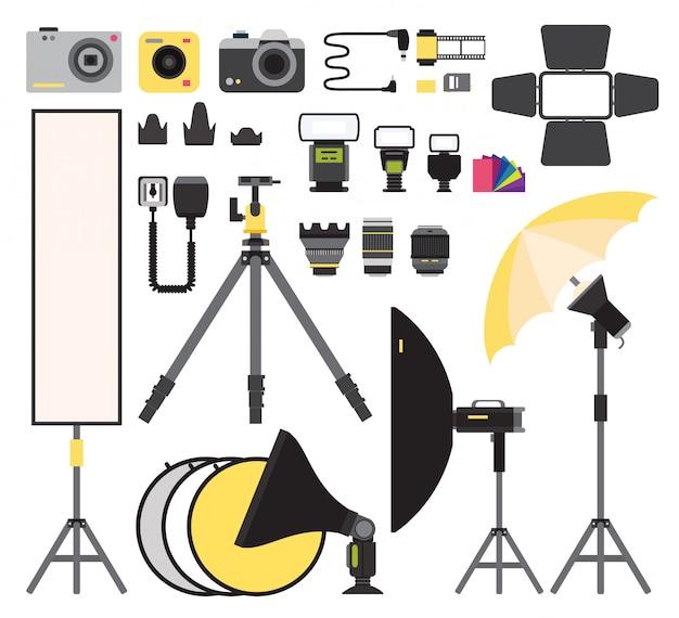 Photo icons vector collection. photo studio flat vector equipment. photo symbols isolated Premium Vector