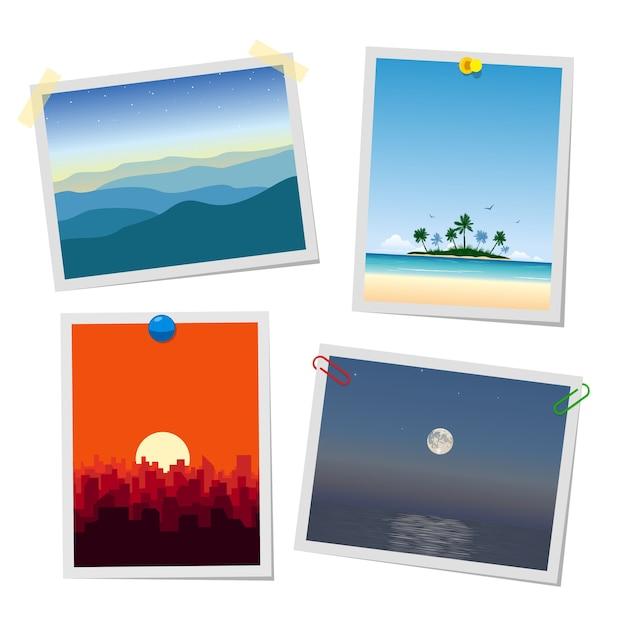 Фото пейзажа, гор, острова, города и моря. шаблоны карточек или напоминаний, прикрепленные с помощью кнопок, скрепок и скотчей. Premium векторы