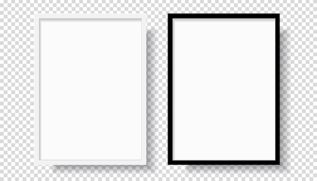 Photo realistic black blank and white picture frame, hanging on a wall from the front. mockup isolated on transparent background. graphic style template. vector illustration Premium Vector