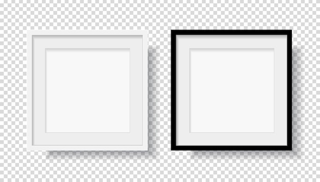 Photo realistic black blank and white picture frame Premium Vector