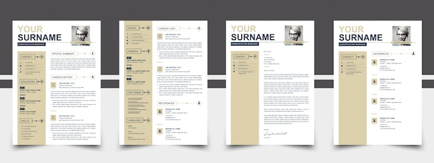 Photo resume template golden color Premium Vector