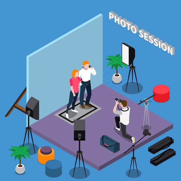Photo session isometric composition Free Vector