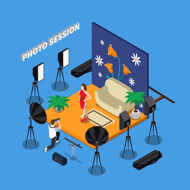 Photo session isometric design Free Vector