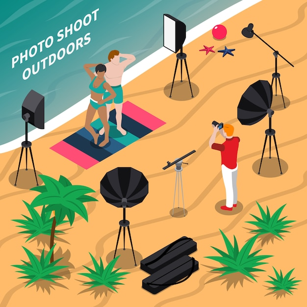 Photo shooting outdoors isometric composition Free Vector