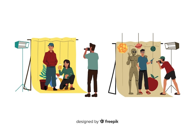 Photo shooting with people illustrated Free Vector