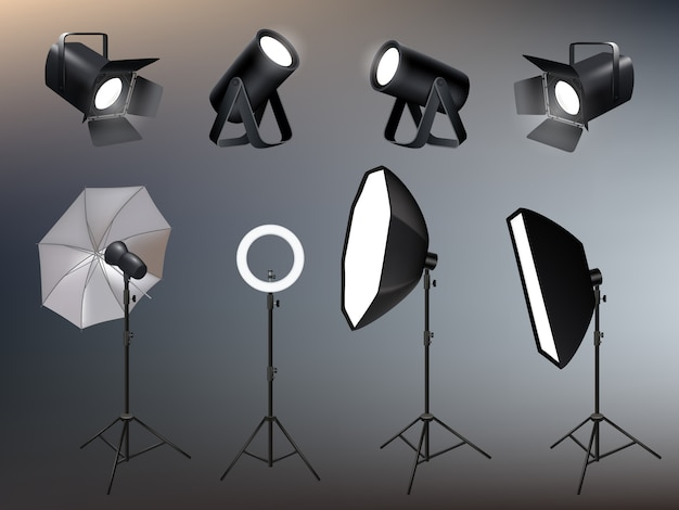 Photo studio accessories. spotlights softboxes and glow and vivid backstage light  realistic Premium Vector