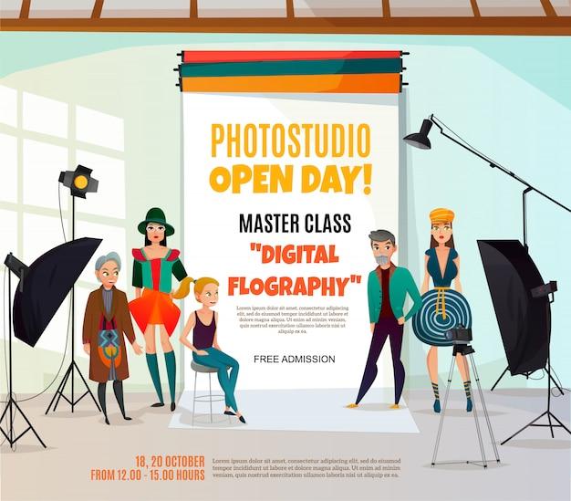 Photo studio adポスター 無料ベクター