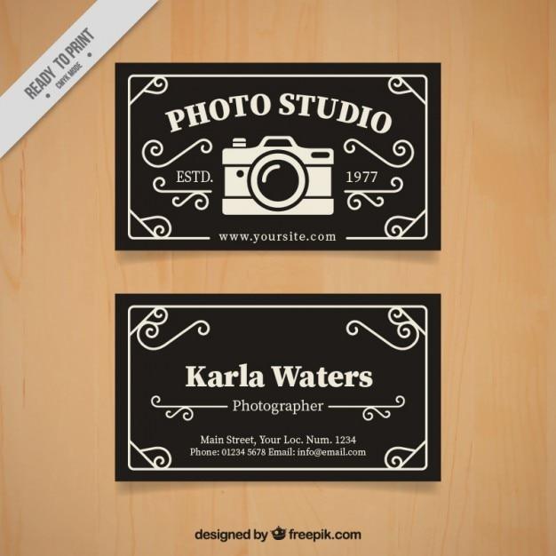Photo studio card in retro style