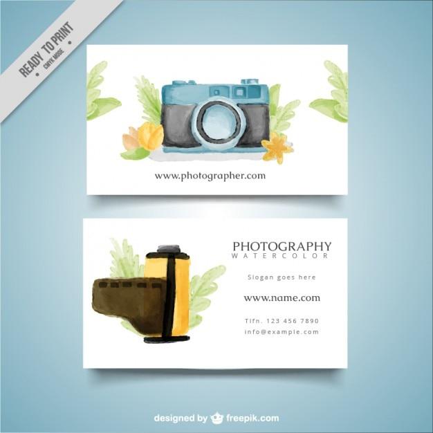 Photo studio card with watercolor camera and bobbin