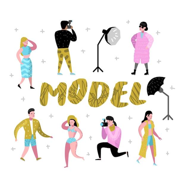 Набор персонажей фотостудии с фотографом и моделями Premium векторы