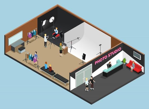 Photo studio reception interior Free Vector