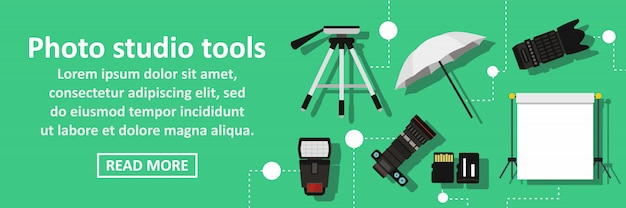 Photo studio tools banner horizontal concept Premium Vector