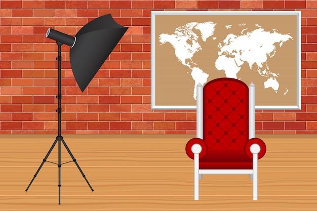Photo studio with bricks wall and wooden floor illustration Premium Vector