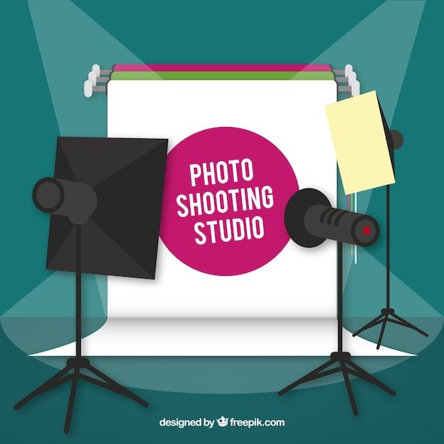Photo studio with spotlights