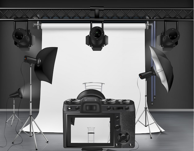 Photo studio with white roll-up screen, digital camera, spotlights and softboxes Free Vector