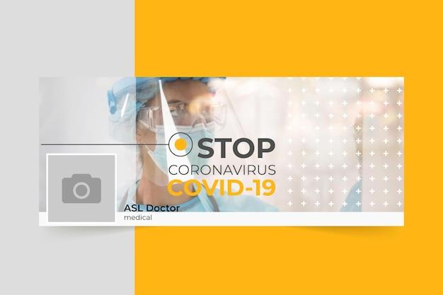 Foto e testo copertina facebook del coronavirus Vettore gratuito
