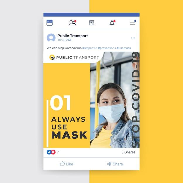 Foto e testo post facebook sul coronavirus Vettore gratuito