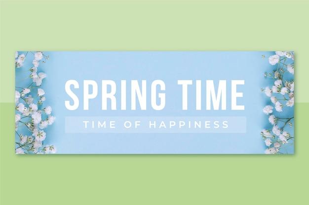 Photo & text spring facebook cover Free Vector