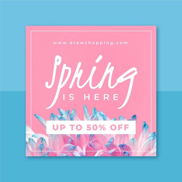 写真とテキストの春のinstagramの投稿 無料ベクター