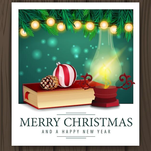Photo with christmas books Premium Vector