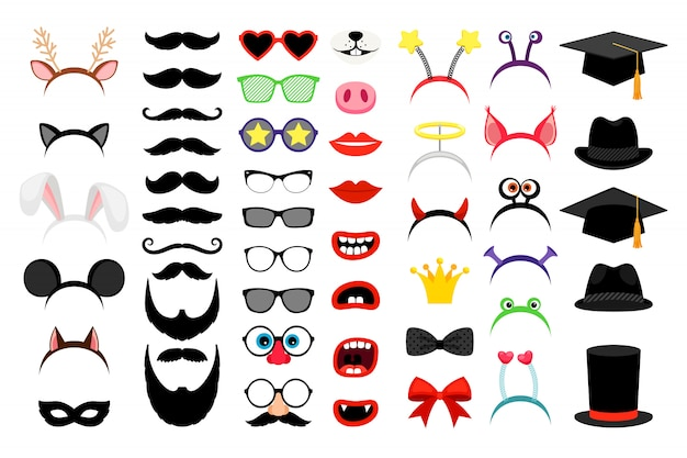 Photobooth party funny elements Premium Vector