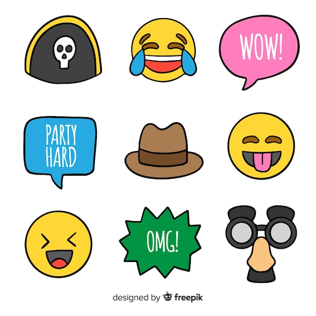 Photobooth prop collection Free Vector