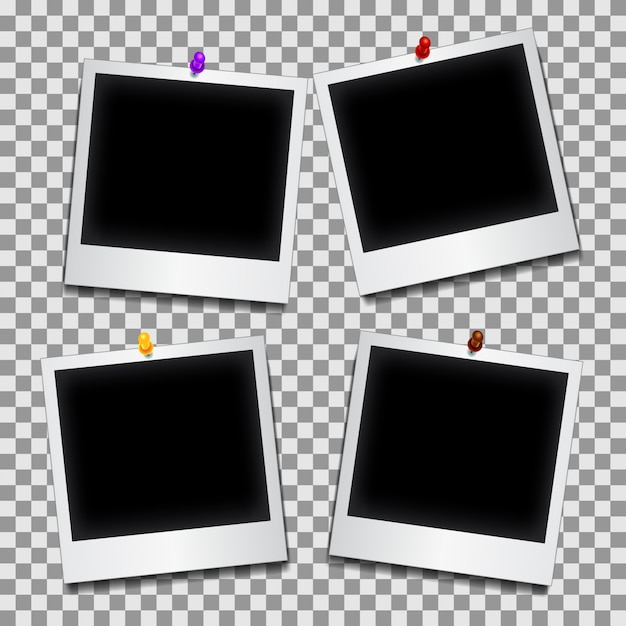 Photograph collection with pushpins Free Vector