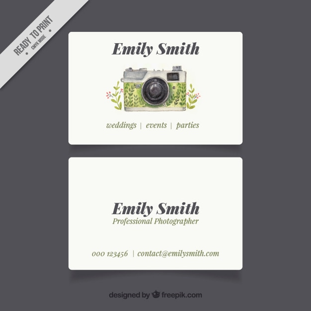 Photographer Business Card Free Vector