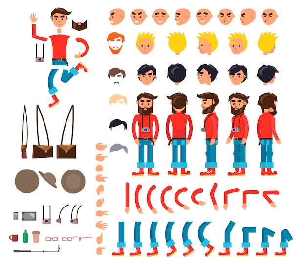 Photographer character flat collection Premium Vector