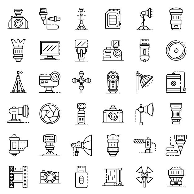 Photographer equipment icons set, outline style Premium Vector