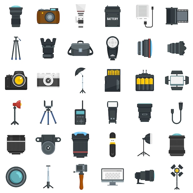 Photographer equipment icons set Premium Vector