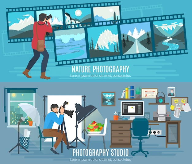Photographer horizontal banner set with photography studio flat elements Free Vector