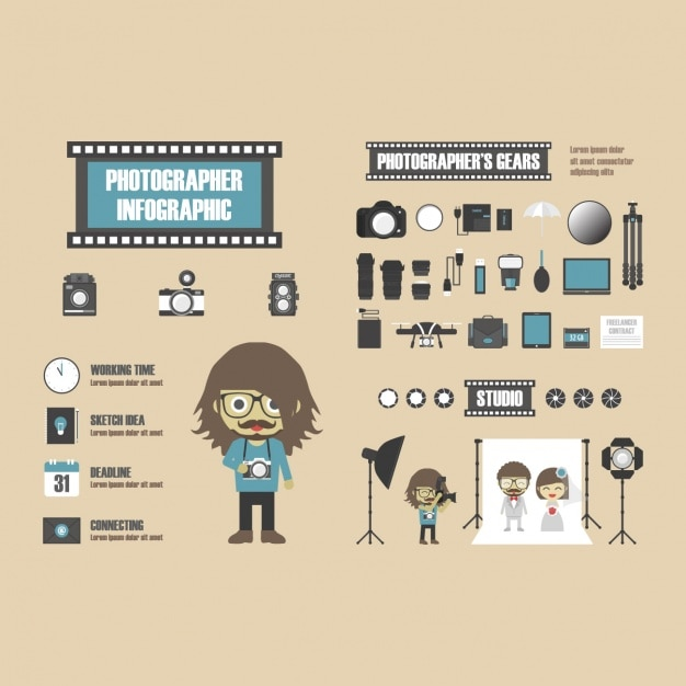 Photographer infographic template Free Vector
